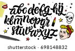 hand drawn alphabet font.... | Shutterstock .eps vector #698148832