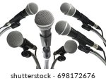microphone white background.... | Shutterstock . vector #698172676