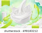 white cream splash. yogurt ... | Shutterstock .eps vector #698183212