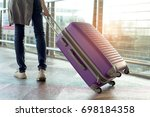 woman traveler walking with... | Shutterstock . vector #698184358
