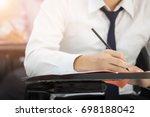 soft focus university or high... | Shutterstock . vector #698188042