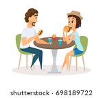 happy couple eating fast food... | Shutterstock . vector #698189722