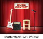 music contest with microphone... | Shutterstock .eps vector #698198452
