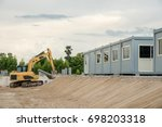 mobile building in industrial... | Shutterstock . vector #698203318