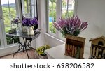 lavenders flower decorated in... | Shutterstock . vector #698206582