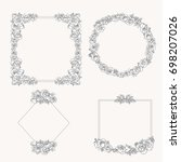 vectored rose frames  ink drawn ... | Shutterstock .eps vector #698207026