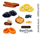 dried fruit cartoon icon set.... | Shutterstock .eps vector #698216455