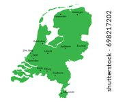 map of netherlands with main... | Shutterstock .eps vector #698217202