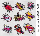 color funny cartoon superhero... | Shutterstock .eps vector #698218462