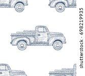 hand drawn engraved retro... | Shutterstock .eps vector #698219935