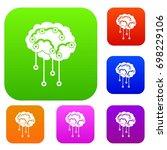 sensors on human brain set icon ...   Shutterstock .eps vector #698229106