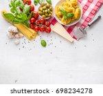 spaghetti tagliatelle olives... | Shutterstock . vector #698234278