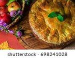 Fresh Hot Apple Pie On A Woode...