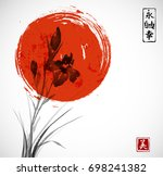 iris flowers and big red sun... | Shutterstock .eps vector #698241382