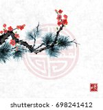 pine tree branch and sakura in... | Shutterstock .eps vector #698241412