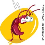 scared cockroach insect vector...   Shutterstock .eps vector #698242612