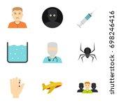 fear icon set. flat style set... | Shutterstock .eps vector #698246416