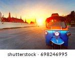tuk tuk and sun set sky at... | Shutterstock . vector #698246995