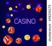 casino.poster wish red dice and ... | Shutterstock .eps vector #698250175