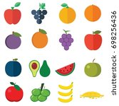 set of fruits flat style icons... | Shutterstock .eps vector #698256436
