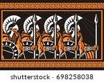 orange and black figure art... | Shutterstock .eps vector #698258038