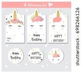 unicorn labels for sales  gift  ... | Shutterstock .eps vector #698266126