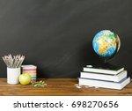 school supplies with globe ... | Shutterstock . vector #698270656