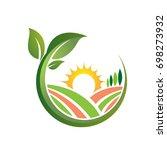vector green farming orange... | Shutterstock .eps vector #698273932