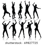 dancing people silhouettes ... | Shutterstock .eps vector #69827725