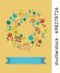 graceful floral greeting card.... | Shutterstock . vector #698278726