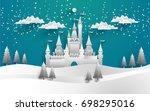 the beautiful castle in winter... | Shutterstock .eps vector #698295016