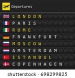 airplane departures destination ... | Shutterstock .eps vector #698299825