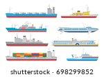 flat cargo  passenger ships and ... | Shutterstock . vector #698299852
