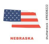 usa flag on nebraska map... | Shutterstock .eps vector #698308222