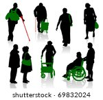 silhouette of old and disabled... | Shutterstock .eps vector #69832024