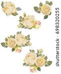 Stock vector set of vintage white roses on white background vector illustration eps 698320255