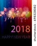happy new year 2018 info text... | Shutterstock . vector #698328082