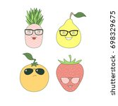 set of hand drawn cute funny... | Shutterstock .eps vector #698329675