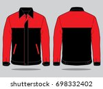 red   black jacket for template   Shutterstock .eps vector #698332402