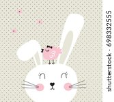 Stock vector cute bunny with bird on polka dots background happy easter card bunny cartoon vector illustration 698332555