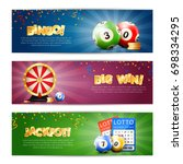 set of three lottery horizontal ... | Shutterstock .eps vector #698334295