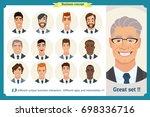 business men flat avatars set... | Shutterstock .eps vector #698336716