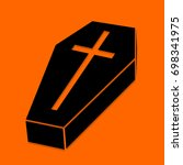 halloween coffin. black icon on ... | Shutterstock .eps vector #698341975