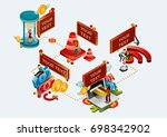 online banking facility | Shutterstock .eps vector #698342902