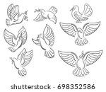 a set of world pigeons with a... | Shutterstock .eps vector #698352586