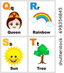 alphabet printable flashcards... | Shutterstock . vector #698354845