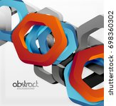 overlapping hexagons vector...   Shutterstock .eps vector #698360302