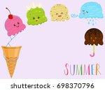 vector illustration of cute... | Shutterstock .eps vector #698370796