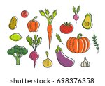 vegetables icons set.... | Shutterstock . vector #698376358