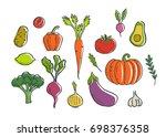 vegetables icons set.... | Shutterstock . vector #698376358